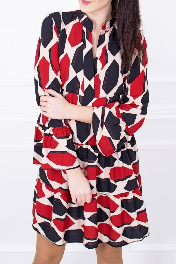 a9c4ae10b4aa Bordové šaty s geometrickým vzorom PA-014