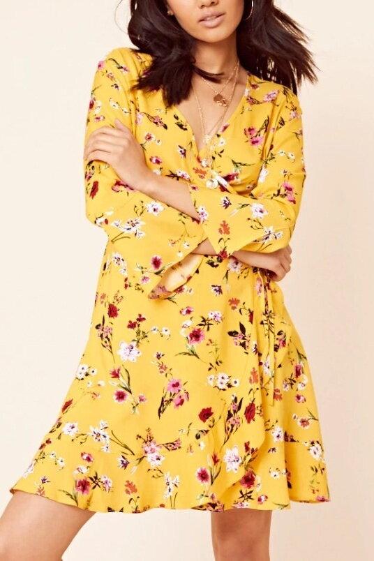 36618f9631b7 Kvetinové žlté šaty 205-4783