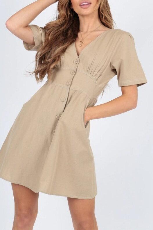 8f94ad7cfc27 Svetlohnedé šaty s gombíkmi 205-6310