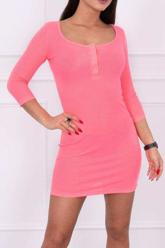 87b2138c4d3d Neónové ružové elastické šaty KS-8975