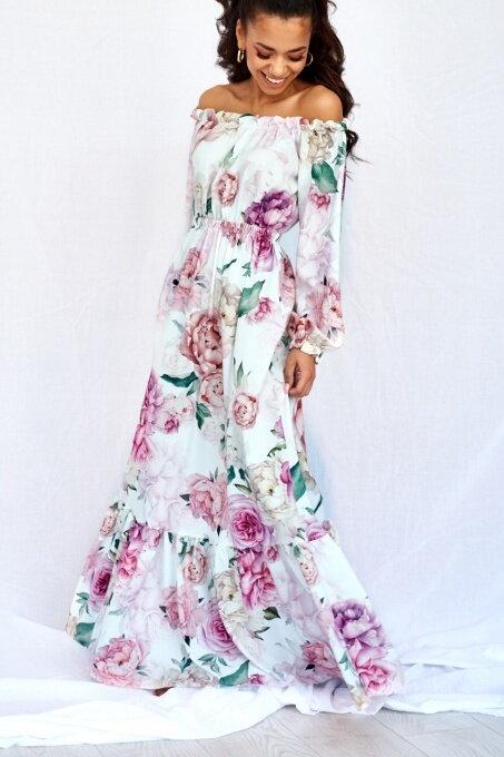 f3d1b7437a18 Dámske maxišaty s kvetmi MAXI WHITE ROSE PRINT