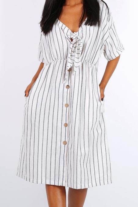 c3eca875d83f Biele prúžkované šaty s gombíkmi F-ASD22160