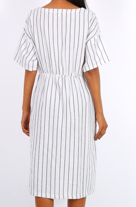 5e9550ec8de1 Biele prúžkované šaty s gombíkmi F-ASD22160. Next