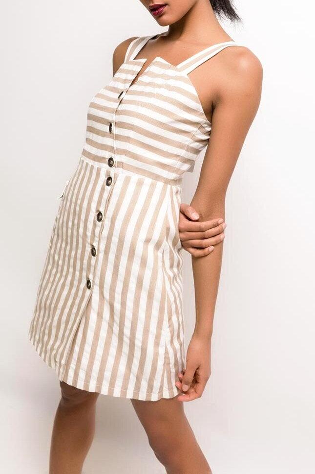 776e0b83a88b Previous. Béžové prúžkované šaty s gombíkmi ...