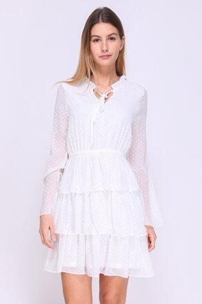 a929c7ec381 Biele bodkované šaty s volánovou sukňou