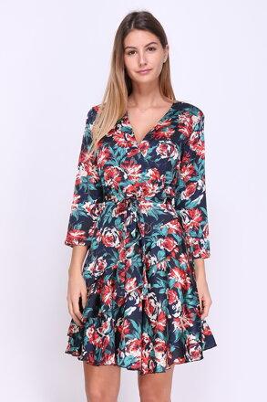 Tmavomodré vzorované šaty s kvetmi a1fb7c3350