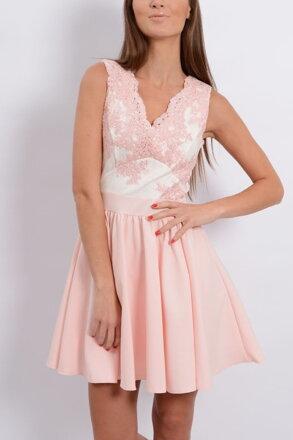 Púdrovo-ružové šaty s krajkou CO-20605 f74168f3d55