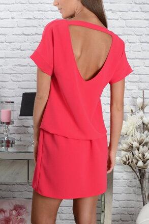 Elegantné ružové šaty s výstrihom CO-22580 67225eaa7ca