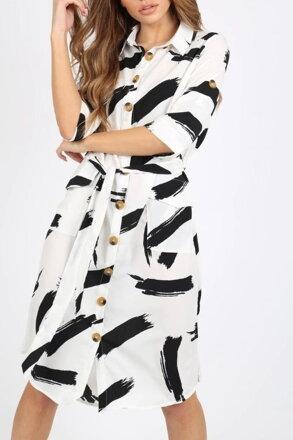 ac7cf46d4630 Bielo-čierne košeľové šaty 205-6099