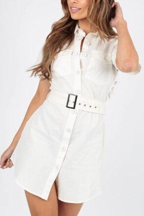 4f022bfca410 Biele košeľové šaty s opaskom 205-6309