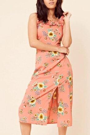 a3cbfdae01da Korálové kvetované midi šaty 205-6419