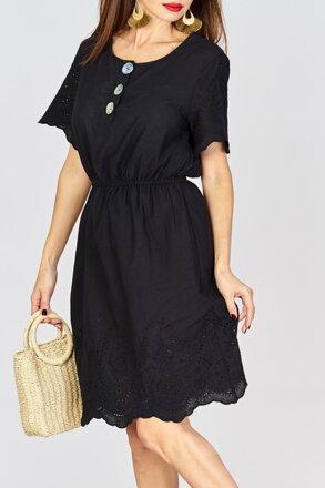 d395f376d07a Čierne letné šaty s gombíkmi IM-12864