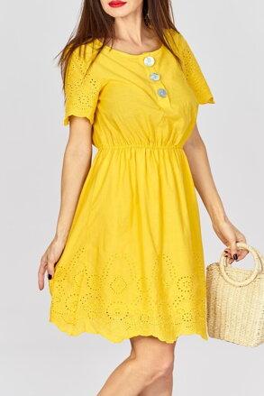 6d80ed7af72c Žlté letné šaty s gombíkmi IM-12864