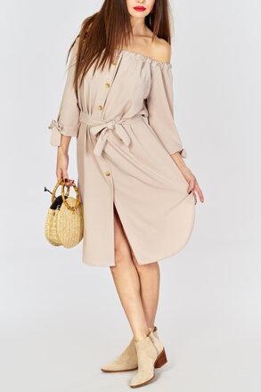 f5cede456222 Béžové šaty s viazaním IM-SU12820
