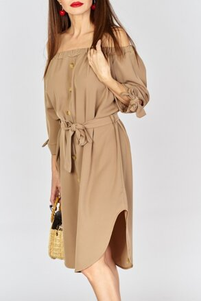 825d0d1de237 Hnedé šaty s viazaním IM-SU12820