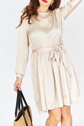 fd9c883661d2 Béžové šaty s plisovanou sukňou IM-SU13365