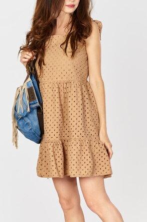 472e8084c714 Perforované hnedé šaty IM-SU14258
