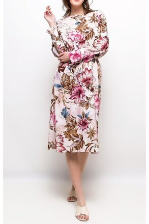 31d36bb8d124 Kvetované midi šaty F-199093 púdrové