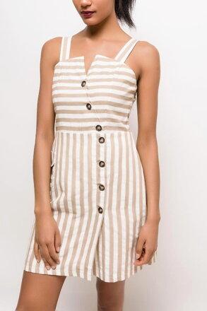 bb732d435f Béžové prúžkované šaty s gombíkmi F-ASD53677