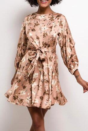 109e30835c0c Kvetované saténové šaty Queen F-LQ8971