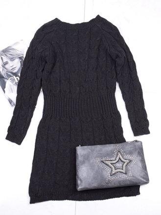 2653f3691f Úpletové čierne šaty  tunika EH-102