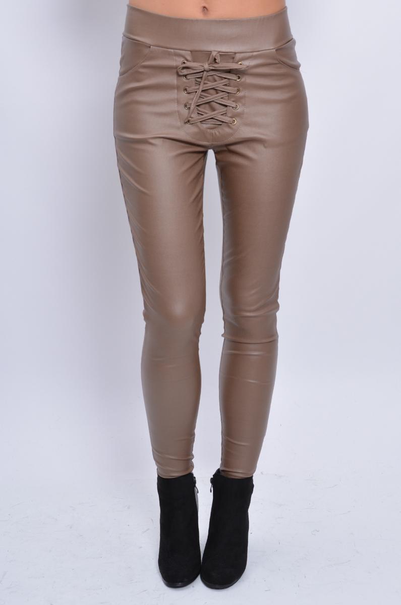 46c22e549f00 Koženkové šnurovacie nohavice