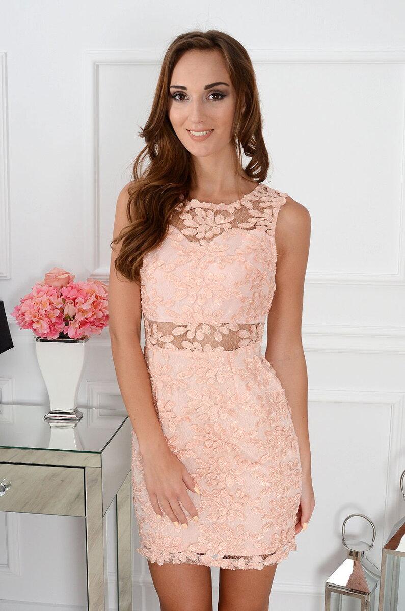 Elegantné čipkované púdrové šaty CO-29947 71b1321d0d9
