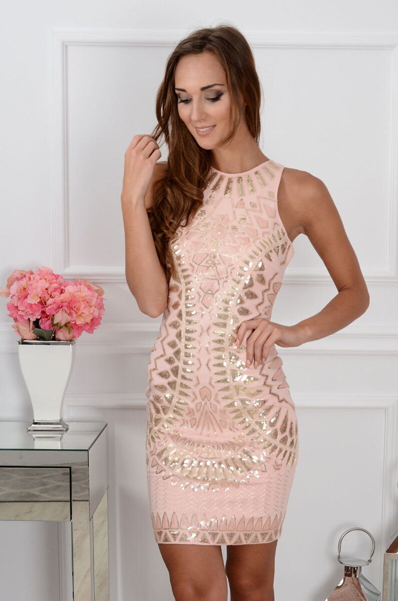 Luxusné púdrové šaty Celebri CO-30348 99c0867aa67