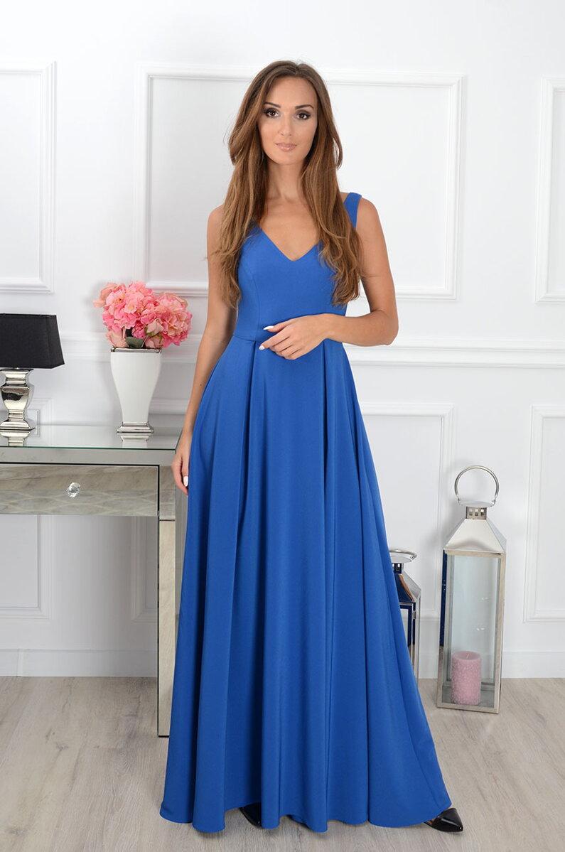 Kráľovské modré maxišaty Gloria CO-31225 9eb320c8cb4