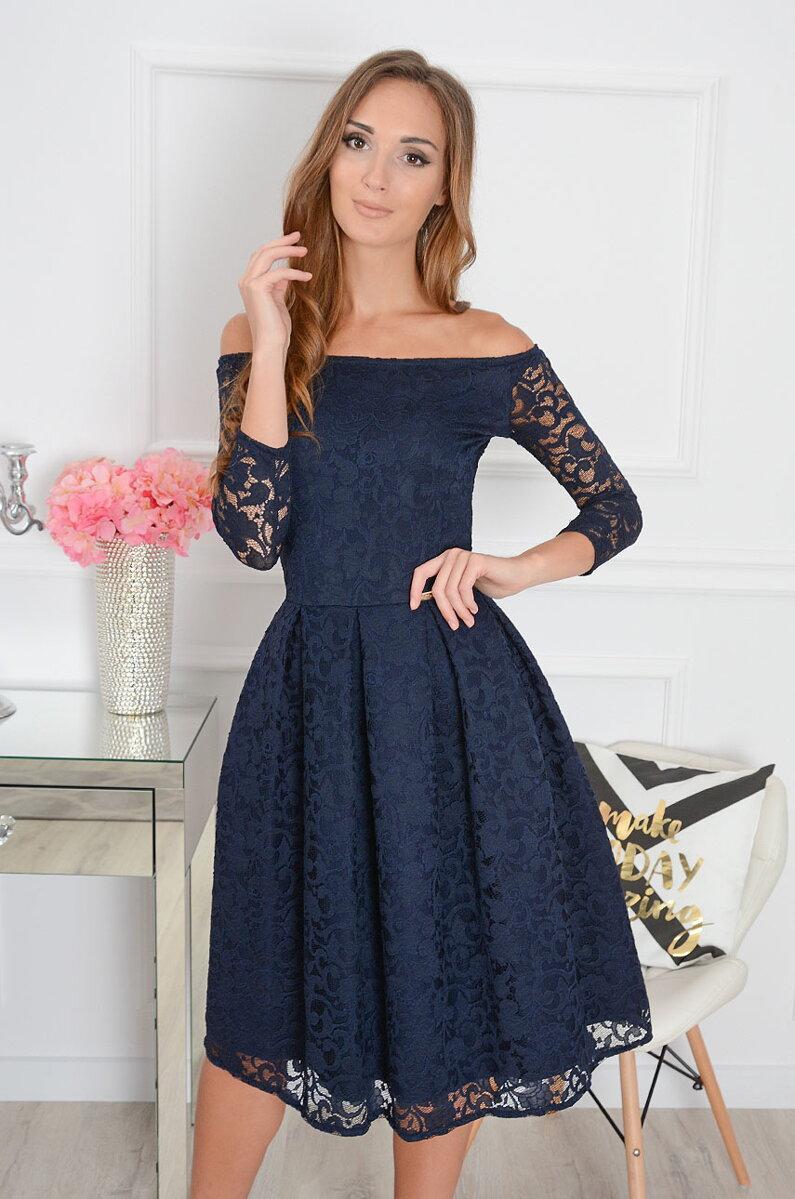 Čipkované midi-šaty Scarlet CO-31541 tmavomodré d99d76f62fd