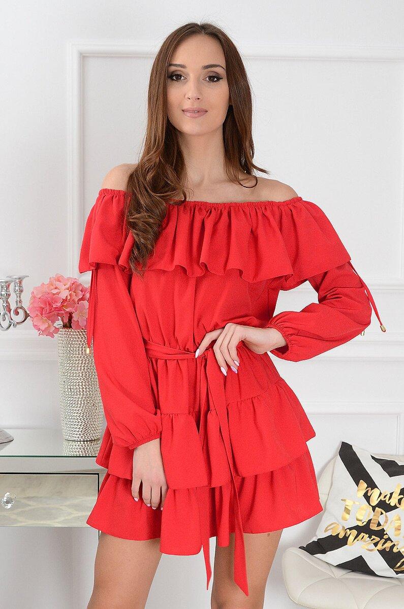 ed749b367b2a Dámske volánové šaty Margo s odhalenými ramenami CO- 35908 červené