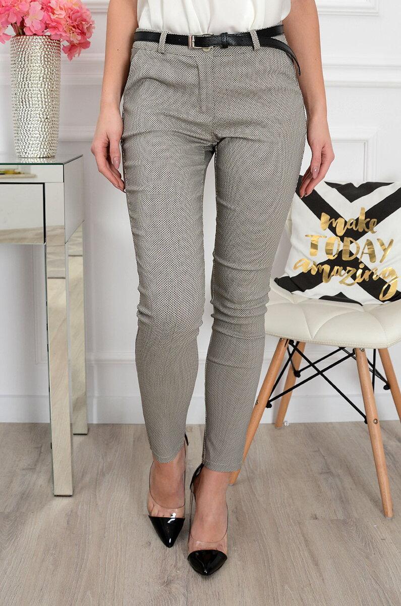 179019e9d6f8 Dámske spoločenské nohavice s jemným vzorom sivé