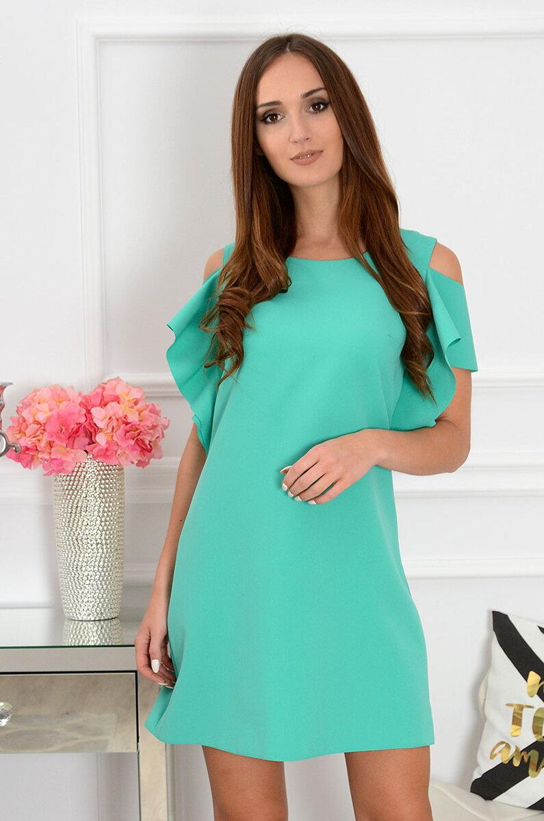4cf949168172 Elegantné šaty s odhalenými ramenami Adria CO-37947 morská zelená