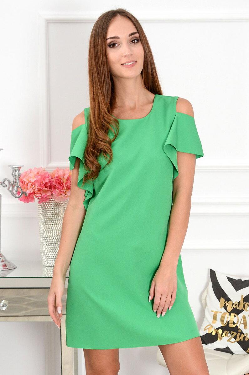 a48dc550fb30 Výrazné zelené šaty s odhalenými ramenami Adria CO-38866