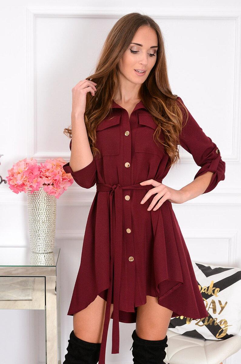 bb43421d373b Nadčasové košeľové šaty v bordovej farbe