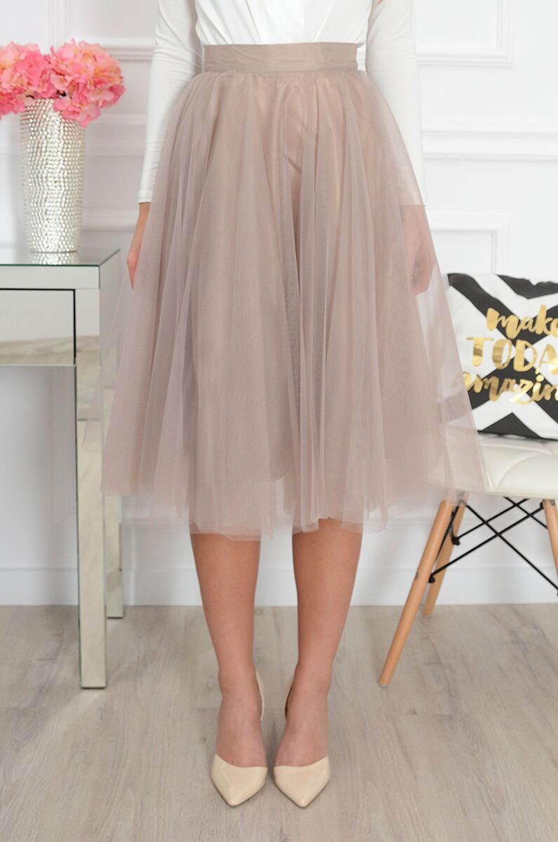 Béžová tylová midi sukňa CO-41195 fe056505f6