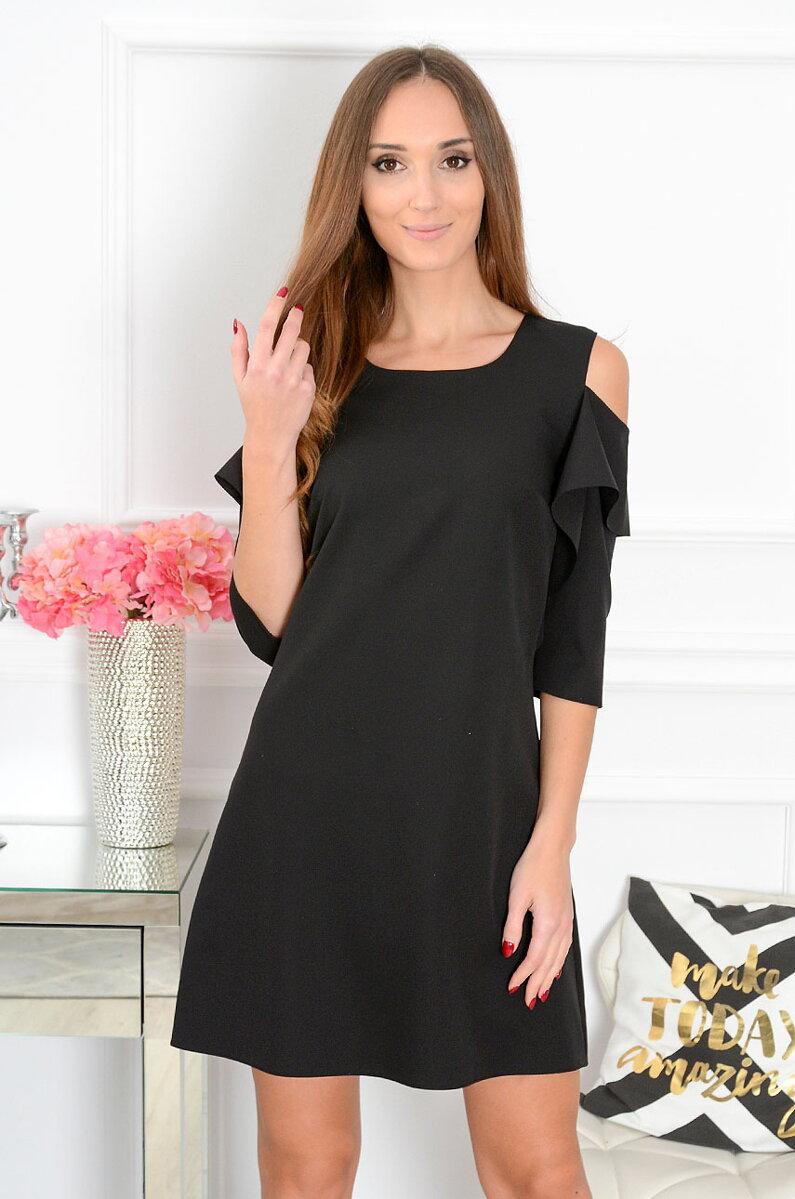 e01806c0a81e Čierne šaty s odhalenými ramenami Adria CO-41241