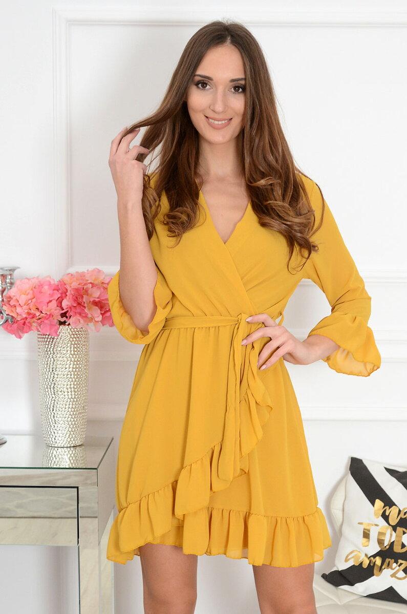 Dámske módne šaty v horčicovej farbe ea2ff74d8ab