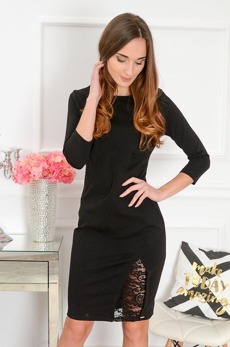 7360bbfb4aba Čierne šaty s krajkovým detailom