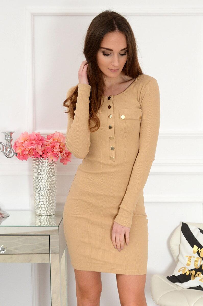 ab3e65d85 Hnedé camel priliehavé šaty Louise