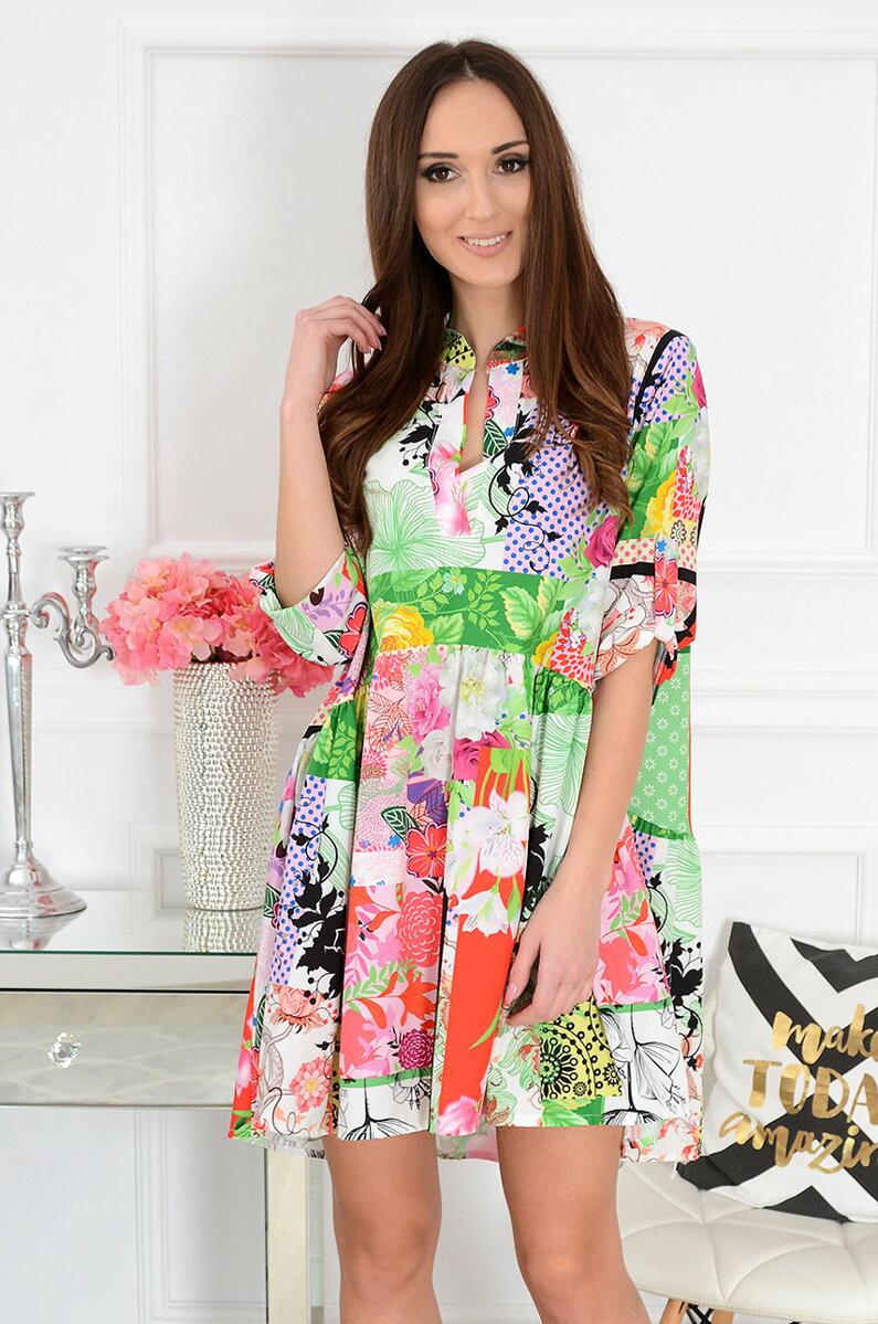 e582343e5b11 Farebné vzorované šaty Alvina
