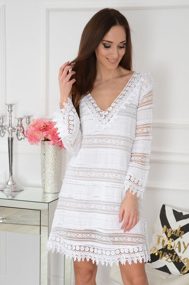 6a7ecf731711 Biele boho šaty Zora