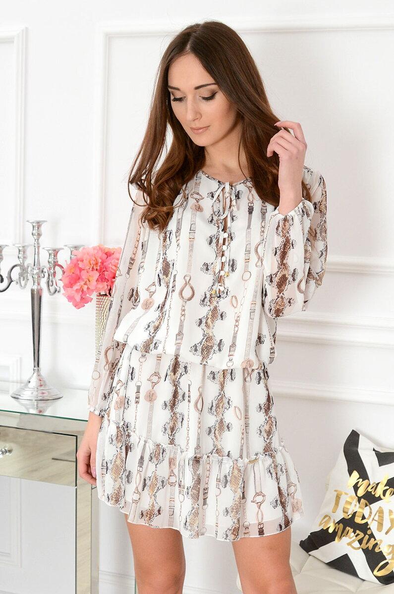 Letné vzorované šaty v bielej farbe  663401cff49