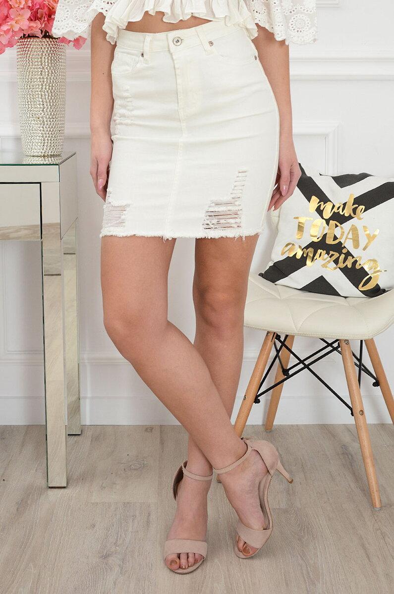 ac73edfcc7a6 Mini biela dámska riflová sukňa