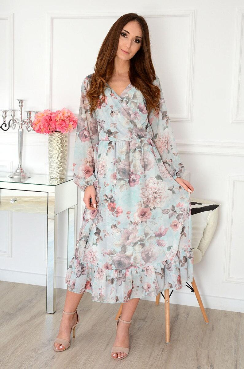 cb7d62688b2c Mentolové midi šaty s kvetmi Agnese