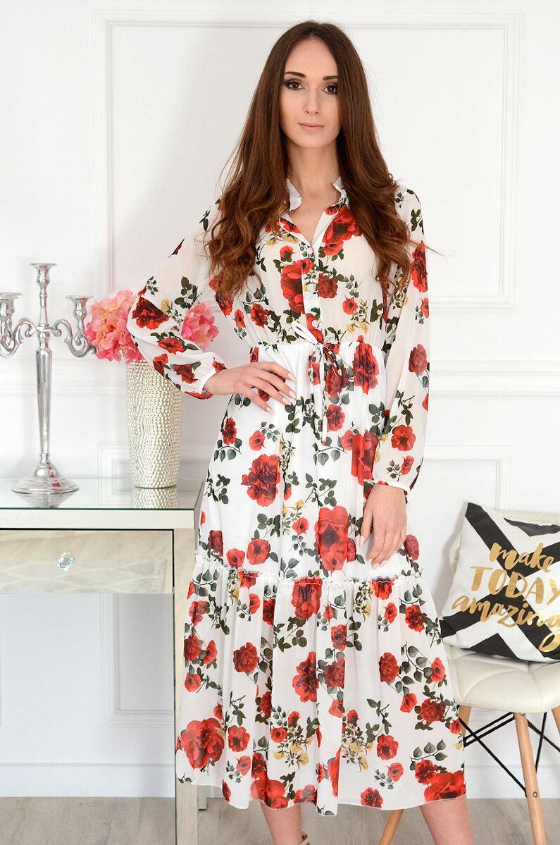 72c7f00b4ed6 Šifónové midi šaty s kvetmi Peggy