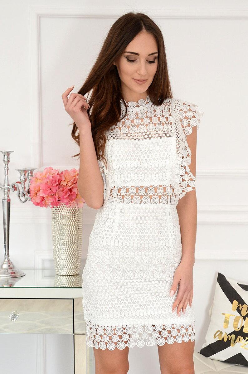 f97aa5bbe0e4 Biele krajkované spoločenské šaty Elif