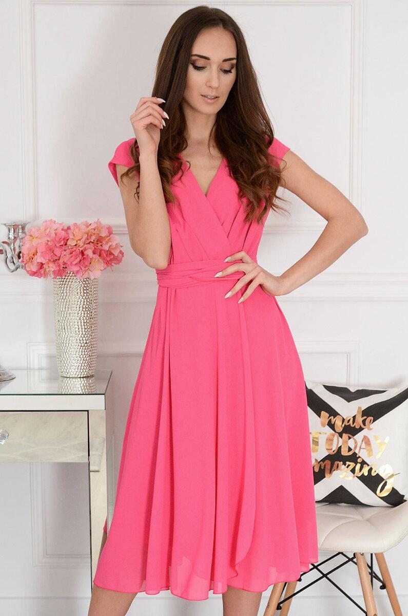 6c266f73e53e Ružové šifónové midi šaty Liva