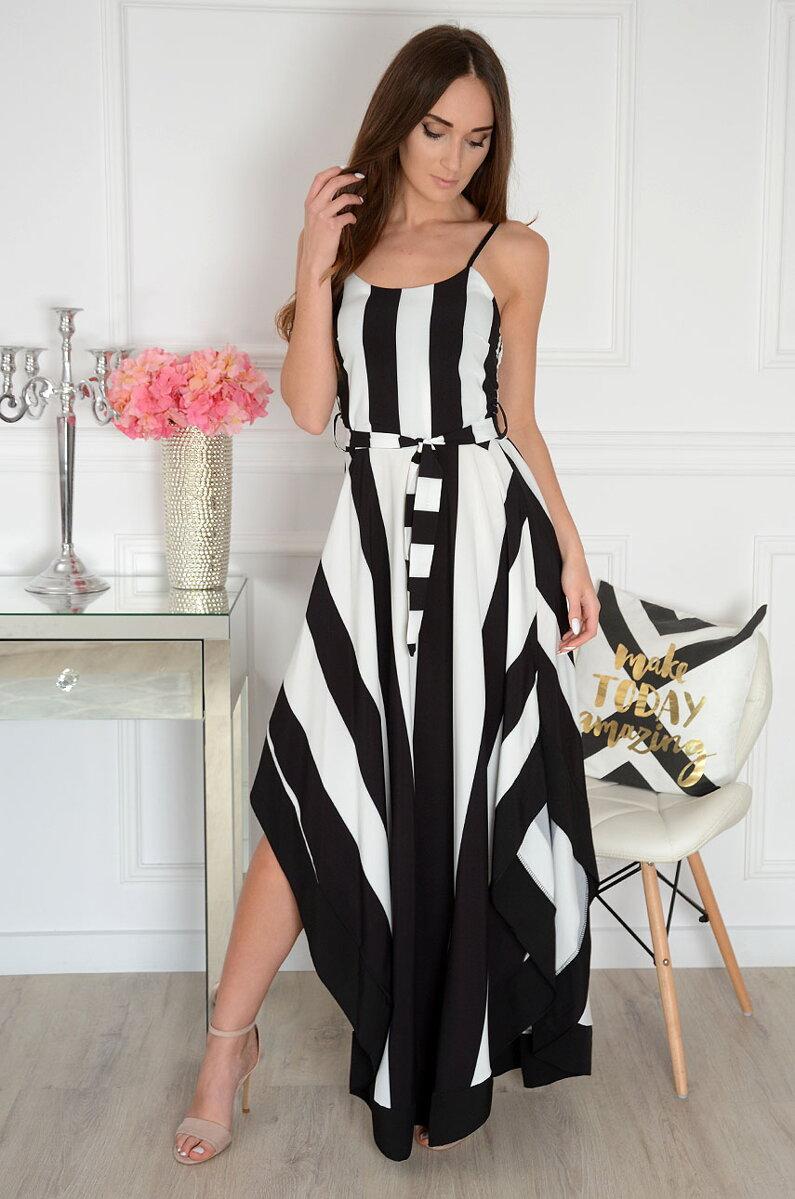 ee097e6df0 Asymetrické čierno-biele pruhované šaty Ksymena