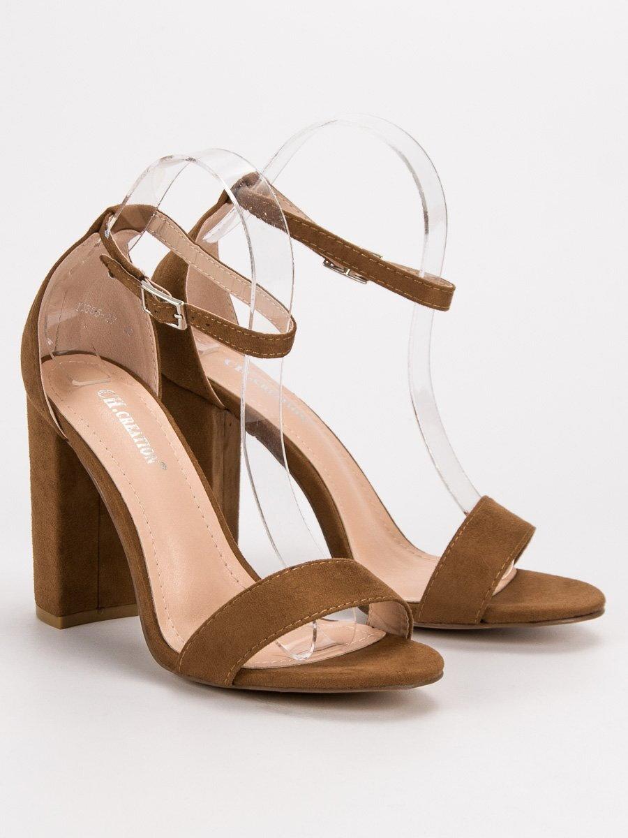 3db7c74112a1 Dámske hnedé sandále na podpätku